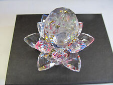 Crystal Lotus Flower Home Deco Gift Clear New Beautiful Multi color with base