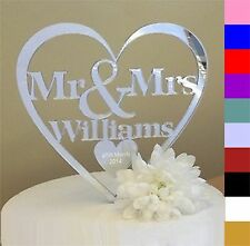 Personalised Mr & Mrs Wedding Cake Topper in a range of colours keepsake