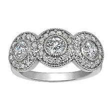 14K WHITE GOLD DIAMOND RING! PAST PRESENT FUTURE WITH BEZEL SET!  .46-.58 TCW!