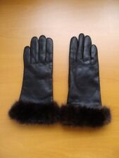 BRAND NEW BLACK LEATHER GLOVES W/ RANCH MINK FUR WRIST TRIM WOMEN WOMAN SIZE 7.5