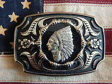 NEW HAND CRAFTED IN UK BELT BUCKLE SILVER/BLACK METAL,PEWTER INDIAN HEAD WESTERN