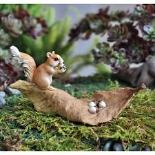 Miniature Squirrel eating Nuts on Brown Leaf/Dollhouse Fairy Faerie Garden 16663