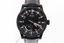 NWT Mens Mido Multifort M0054243605222 Automatic Black Dial Leather Strap Watch