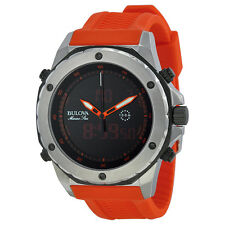 Bulova Men's 98C118 Marine Star Quartz Analog/Digital Orange Resin Band Watch