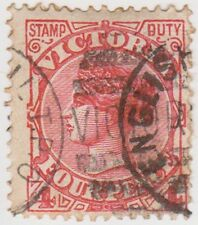 (RJ5) 1885 VIC 4d red stamp duty English cancel