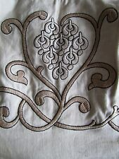 Embroidered Linen Boned Strapless Ivory Corset Bustier Bodice Size 8 NWOT