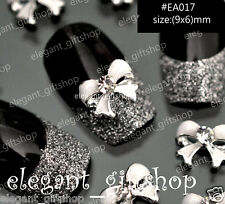 10pcs Nail Art Decoration White Bow Alloy Jewelry Glitter Rhinestone #EA017