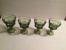 4 Vintage GREEN DRINKING GLASS GOBLET on PEDESTAL