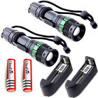 2x UltraFire 3000LM Tactical Zoom Focus T6 LED Flashlight +18650 +Smart Charger