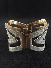 GOLD SILVER GLITTER CUFF BANGLE BRACELET BRIDAL COSTUME JEWELLERY CRYSTAL NEW 1