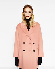 BNWT ZARA Double Breasted Pink Wool Blend Coat L UK 14-16 US 10-12