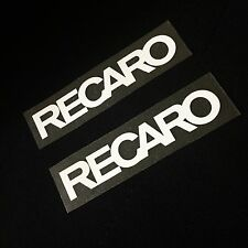 "RECARO PATCH LOGO HOT VINYL IRON ON TRANSFER JDM SEAT SP3 SRD 4.5"" x 0.8"" WHITE"