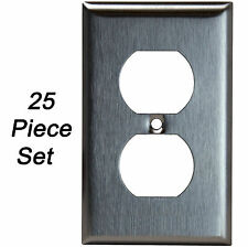 25PK Stainless Steel Outlet Cover Single Duplex Receptacle Oversized Wall Plate