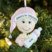 BABY GIRL WITH BOTTLE PINK PERSONALIZED BABY`S FIRST CHRISTMAS TREE ORNAMENT