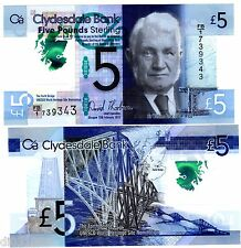 Ecosse SCOTLAND Billet 5 POUNDs 2015 P369 POLYMER CLYDESDALE SIR AROL NEUF UNC