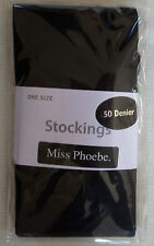 50 denier opaque black plain stockings miss Phoebe extra large