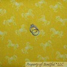 BonEful Fabric FQ Cotton Quilt Yellow Pony HORSE Lasso Girl Scout Cowboy Calico
