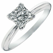 3.1ct Princess Cut Solitaire Engagement Wedding Ring Lab Diamond 14k White Gold