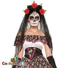 Adults Womens Mexican Day of the Dead Flower Veil Fancy Dress Costume Accessory