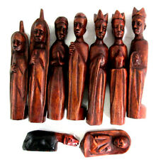 Ghana Wood Hand Carved Nativity Scene Set of 9 Pieces Baby Jesus Mary