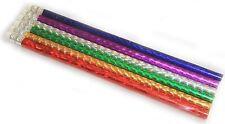 6 x Colorful Luccicante MATITE CON GOMMA PARTY BORSA FILLER BAMBINO SCUOLA GLITTER