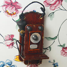 Dollhouse Miniature 1:12 Toy Living Room A Vintage Wooden Wall Telephone RL1330