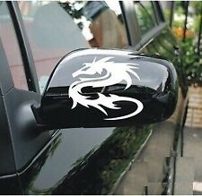 A Pair Dragon Car Rearview Mirror Sticker Vinyl For BMW Audi Ford ETC (White)