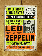 Metal Sign Shabby chic vintage retro style Led Zeppelin poster wall door plaque
