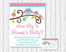 Pink Owl How Big Is Mommys Belly Baby Shower Game