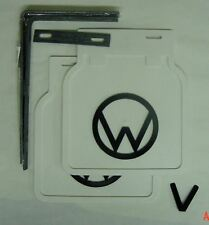 VW Split Oval Bug Accessory white Mud Flaps with black Logo pair with brackets