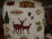 *DeeR Fish KING QUILT cabin trout flyfishing boat elk Moose bird canoe boat Bear