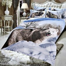Double Size White Fox Wolf 3d duvet bedding set LIMITED EDITION look