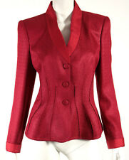 GIORGIO ARMANI Scarlet Red Woven Satin Shawl Collar Blazer Jacket 46