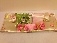 IVORY & PINK BROCADE DOUBLE BEDDING SET FOR BARBIE, OR MONSTER HIGH DOLLS