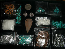 turquoise arrowhead jewelry lot beads kit gemstone silver plastic glass spacer j