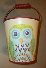"New--5"" Decorative metal bucket w/handle, red finish, owl/floral/leaf pattern!"