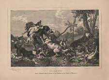 Dogs Attack Lions, The Lion Hunt, by Snyders, Vintage, 1870 Antique Art Print,