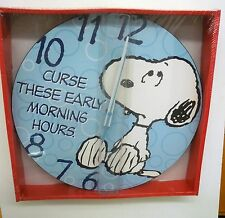 "SNOPPY  ""CURSE THOSE EARLY MORNING HOURS"" 13.5""  DECOUPAGE WALL CLOCK BY VANDOR"
