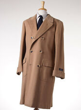 NWT $4495 D'AVENZA Tan Double-Breasted Camelhair Polo Coat 40 R Overcoat