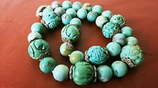 HUGE BIG ANTIQUE VINTAGE CHINESE CARVED NATURAL TURQUOISE NECKLACE 132gm TO 19mm