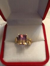 VINTAGE 14K GENUINE TOP QUALITY AMETRINE SOLITAIRE RING, size 7