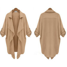 Women Ladies Open Front Cardigan Jacket Trench Coat Tops Thin Loose Long Outwear