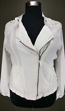 MAURICES IVORY LONG SLEEVE LASER CUT ZIP FRONT LIGHTWEIGHT LINEN JACKET PLUS 2X