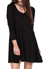 NEW VOLCOM LIVED IN LS Swing DRESS Black SIZE SMALL code w159