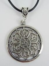 Ohm Lotus Pewter necklace. Buddha Mantra Pendant. Set on Leather cord.
