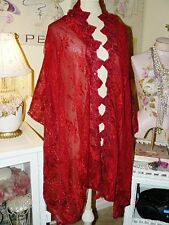 EXQUSITELY EMBROIDERED ROSES Shimmering RUBY RED LACE PASHMINA SHAWL WRAP SCARF