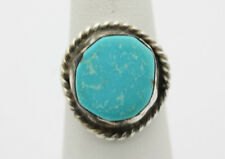 Sterling Silver .925 Vintage Look Rope Edge Round Turquoise Ring Sz 7.5 i908