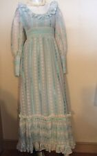 VINTAGE 1970s DAISY LACE~ BLUE RIBBONS~ RUFFLES~Boho Princess Maxi DRESS GOWN