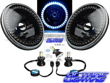 "7"" Black Headlight White LED SC Halo Angel Eye Headlamp 6K LED Light Bulb Pair"