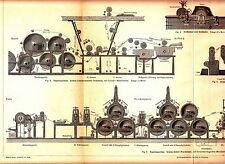 s1880 ENGRAVING PAPER MAKING MACHINE FOLD OUT PRINT ANTIQUE